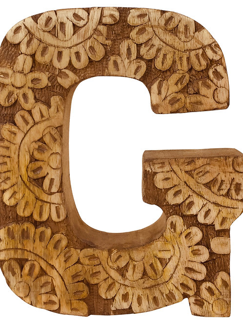 Hand Carved Wooden Flower Letter G Shipping furniture UK