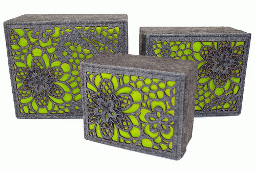 3 x Lime Luxury Storage Boxes Shipping furniture UK