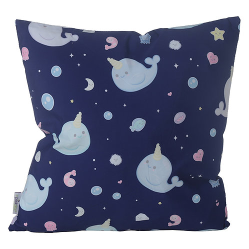 Decorative Cushion with Insert - Cute Narwhal Novelty Gift