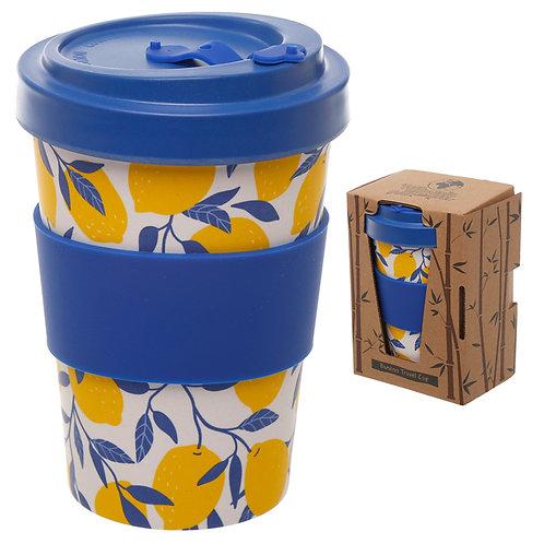 Bamboo Composite Lemons Screw Top Travel Mug Novelty Gift