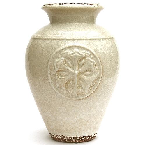 White Embossed Vase Shipping furniture UK