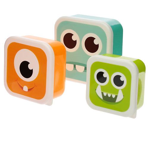 Monsters Monstarz Set of 3 Plastic Lunch Boxes Novelty Gift