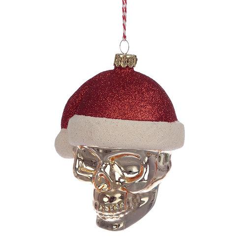 Glass Christmas Bauble - Santa Skull Novelty Gift