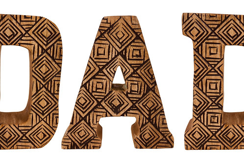 Hand Carved Wooden Geometric Letters Dad Shipping furniture UK