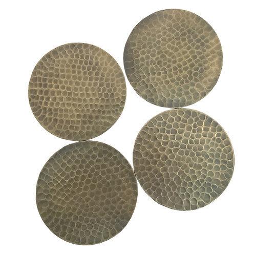 Set Of Four Hammered Gold Coloured Coasters Shipping furniture UK