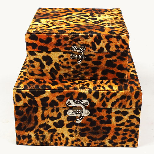 2 x Leopard Fabric Covered Storage Boxes Shipping furniture UK
