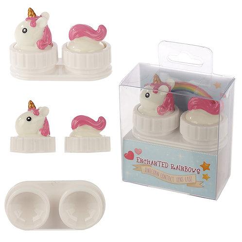 Novelty Gift Handy Contact Lens Case - Rainbow Unicorn Design
