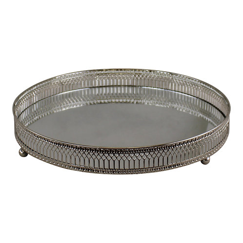 Large Silver Mirror Candle Plate Shipping furniture UK