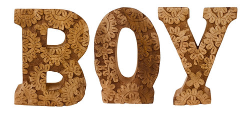 Hand Carved Wooden Flower Letters Boy Shipping furniture UK