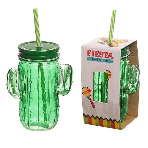 Novelty Green Glass Drinking Mason Cactus Jar Fiesta Cup