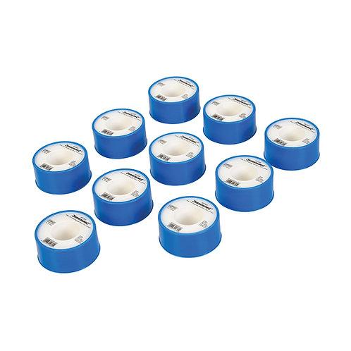 Silverline White PTFE Thread Seal Tape 10pk  19mm x 12m | DIY Bargains