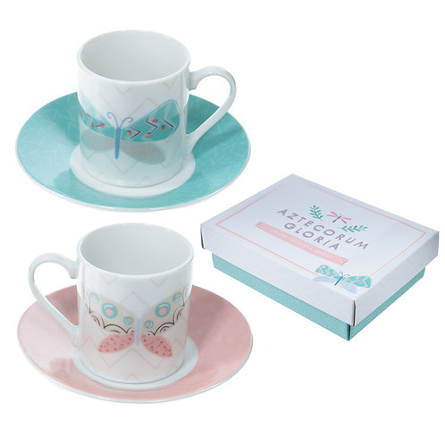 Set of 2 Espresso Cup and Saucer - Butterfly Design Novelty Gift