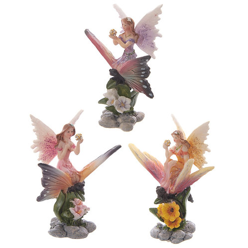 Cute Flower Fairy Riding Butterfly Figurine [Pack of 1] Novelty Gift