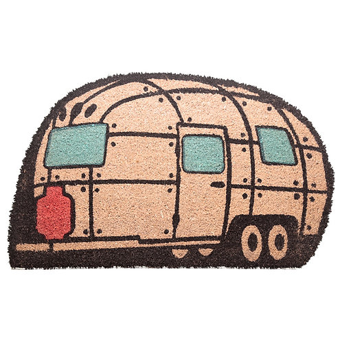 Coir Door Mat - Streamline Caravan Shape Novelty Gift