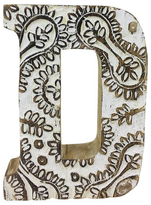 Hand Carved Wooden White Flower Letter D Shipping furniture UK