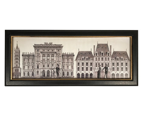 Black Framed Monochrome Architecture Print Shipping furniture UK