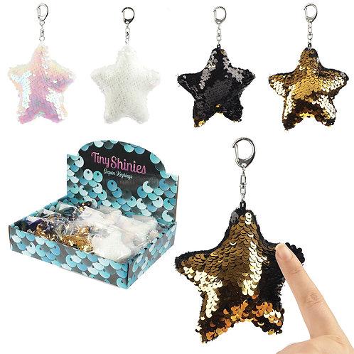 Fun Star Shaped Glitter Sequin Keyring Key Chain Novelty Gift