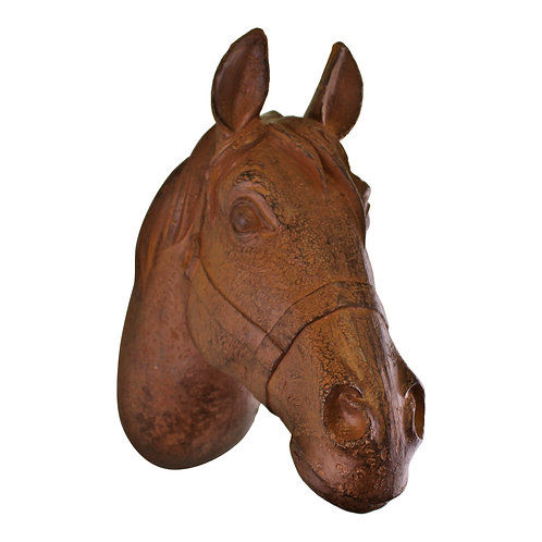 Wall Hanging Horses Head Bust In Rust Finish Shipping furniture UK