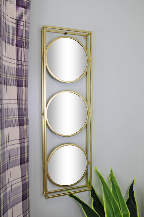 Golden Metal Framed Triple Mirror Shipping furniture UK