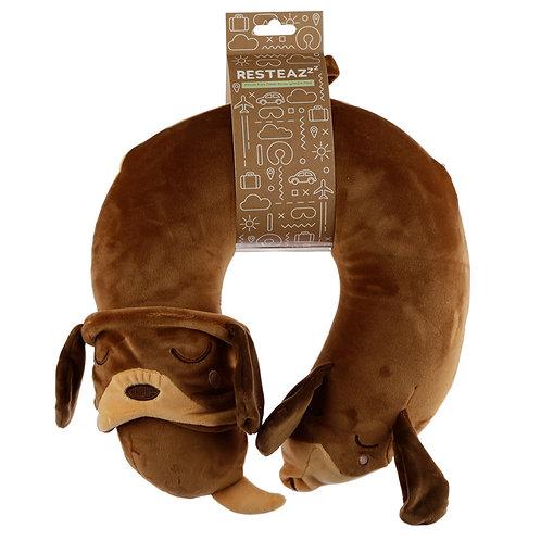 Dachshund Dog Plush Memory Foam Travel Pillow & Eye Mask Set Novelty Gift
