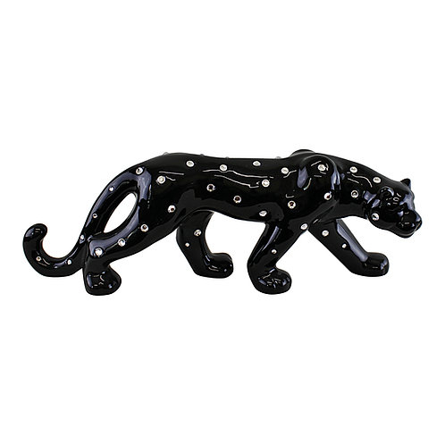 Black Ceramic Leopard With Jewels Ornament 44cm Shipping furniture UK