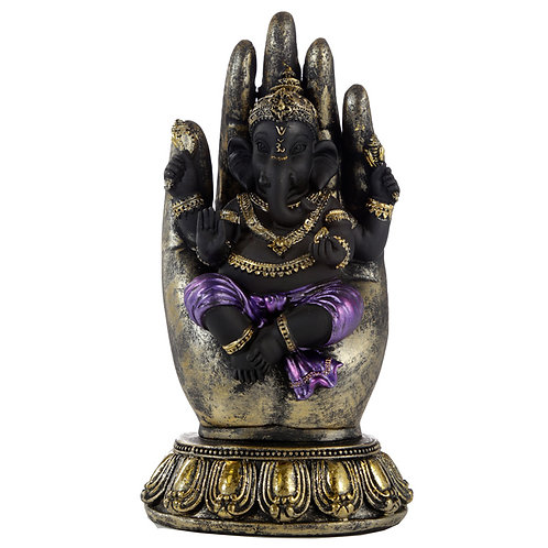 Purple, Gold and Black Ganesh in Hand Novelty Gift