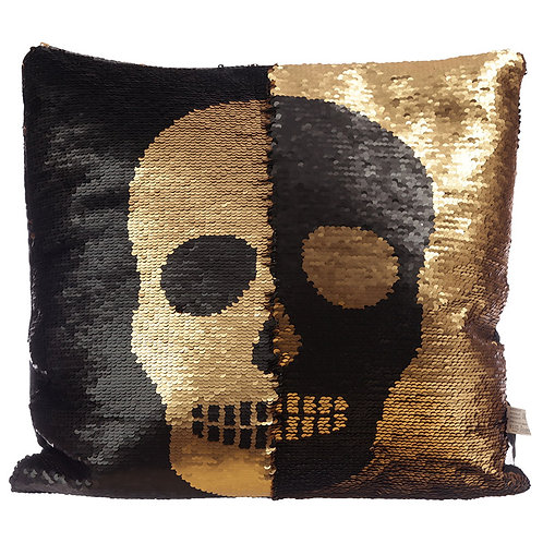 Sequin Two Tone Skull Design Cushion Novelty Gift