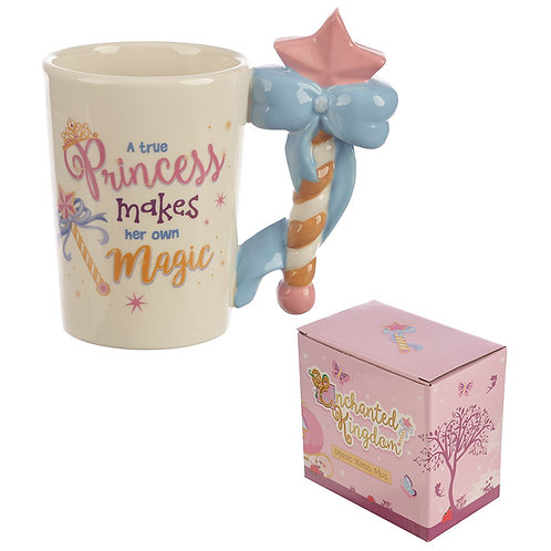Cute Princess Wand Shaped Handle Ceramic Mug Novelty Gift