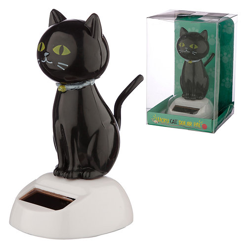 Collectable Lucky Black Cat Solar Powered Pal Novelty Gift