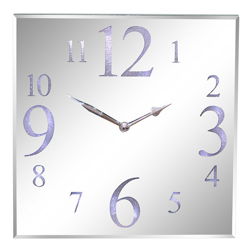 Led Light Up Square Silver Glass Wall Mantel Clock 30cm. Shipping furniture UK