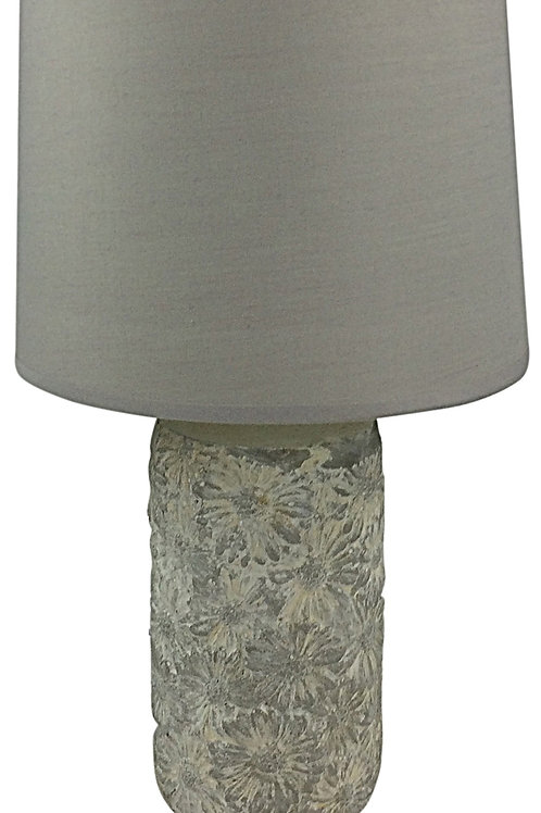 Grey & White Floral Pattern Lamp And Shade 38cm Shipping furniture UK
