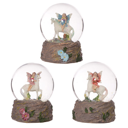 Cute Flower Fairy Riding Unicorn Waterball Snow Globe [Pack of 1] Novelty Gift