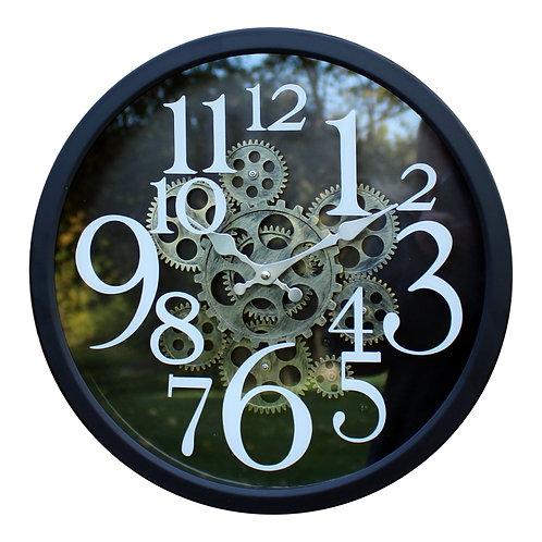 Black Metal Gear Style Clock, 38cm Shipping furniture UK