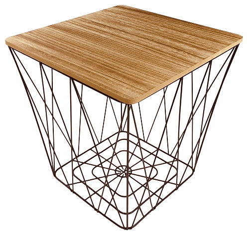 Geometric Black Wire Square Side Table Shipping furniture UK