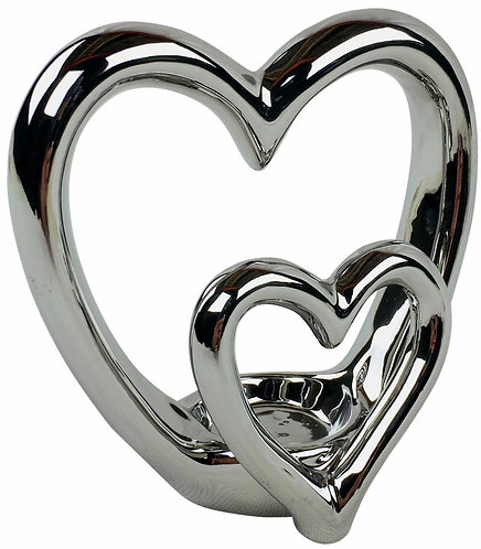 Silver Double Heart Tealight Holder Shipping furniture UK