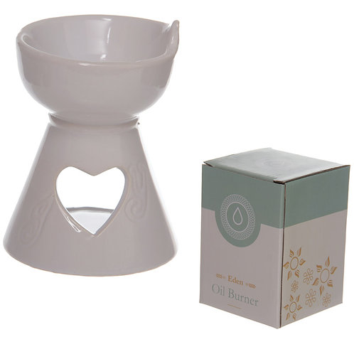 Simple White Heart Cut Out Ceramic Oil Burner Novelty Gift