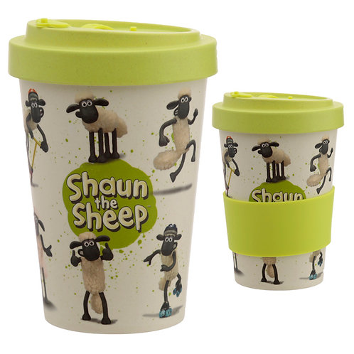 Bamboo Composite Shaun the Sheep Screw Top Travel Mug Novelty Gift