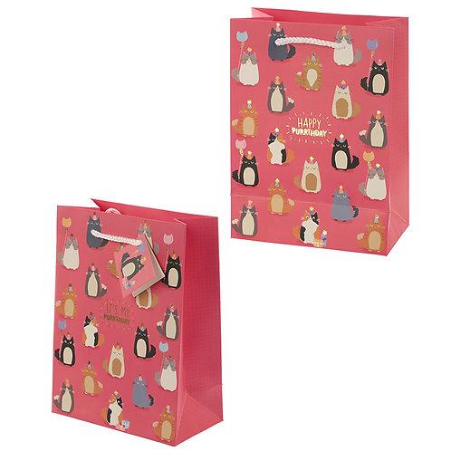 Feline Fine Happy Purrthday Cat Design Medium Gift Bag Novelty Gift