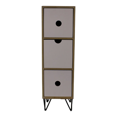3 Drawer Trinket Unit with Wire Legs, Vertical Style Shipping furniture UK