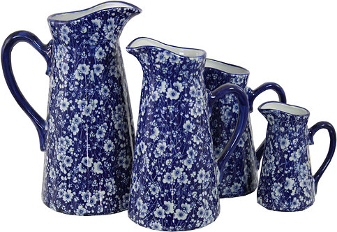 Set of 4 Ceramic Jugs, Blue And White Daisies Design Shipping furniture UK