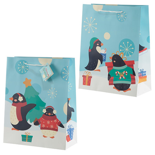 Penguins Large Christmas Gift Bag Novelty Gift