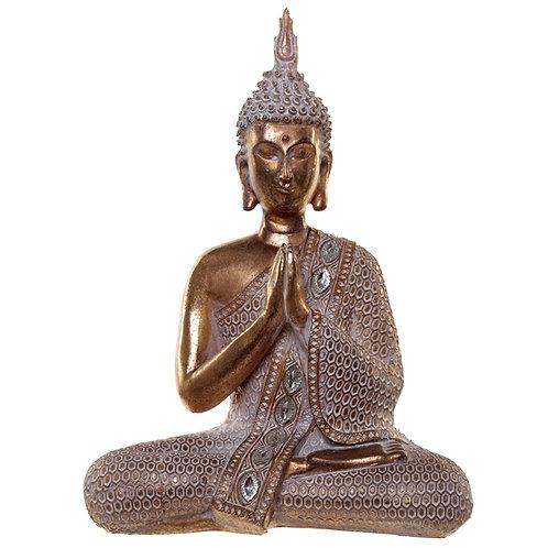 Thai Buddha Figurine - Gold and White Lotus Novelty Gift