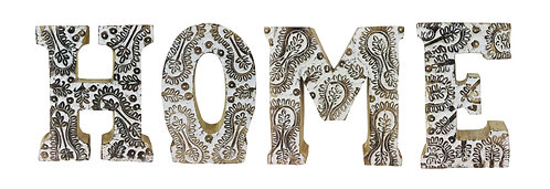 Hand Carved Wooden White Flower Letters Home Shipping furniture UK