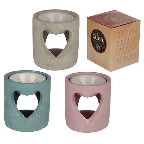 Industrial Style Concrete and Ceramic Oil Burner Novelty Gift [One Only]