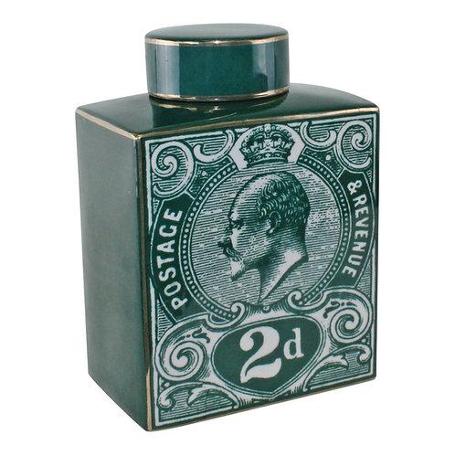 Postage Stamp Decorative Ginger Jar, Teal Green Shipping furniture UK