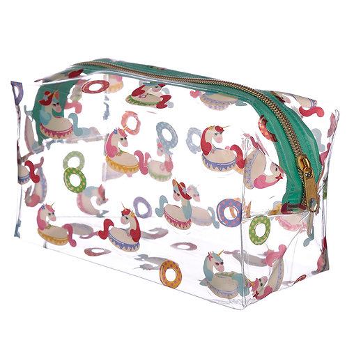 Handy Clear PVC Wash Bag - Vacation Unicorn Design Novelty Gift