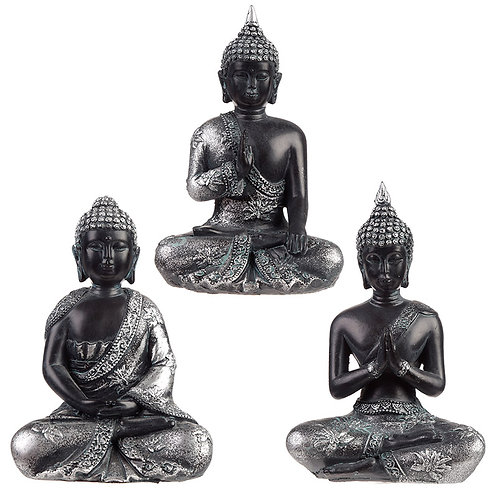 Decorative Black & Silver Thai Buddha - Meditation Novelty Gift