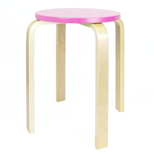 Wooden Stool - Pink | Home Essentials UK