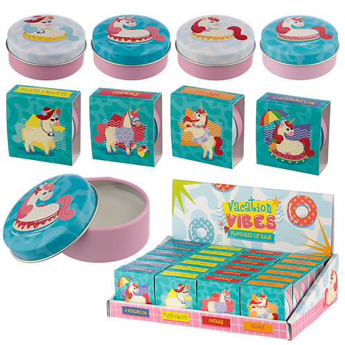 Funky Lip Balm in a Tin - Vacation Vibes Unicorn Novelty Gift