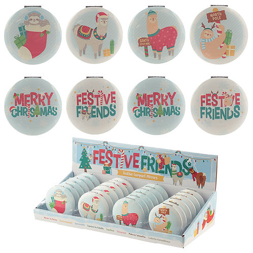 Novelty Gift Fun Collectable Festive Animals Christmas Compact Mirror